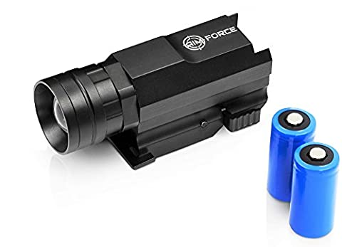 Tactical Gun Flashlight w/ Batteries: Clear Sight at Night. Rail Mounted Outdoor Led Illuminator. Model: Pistol, Airsoft, Ar15 Rifle, Handgun, Shotgun, Glock & more. Black, Lightweight, Beam & - Ar 15 Tactical Flashlights