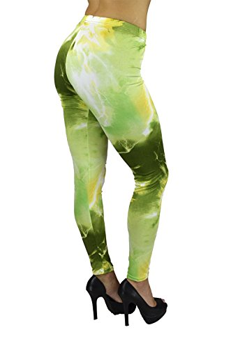 [Belle Donne - Women's Chemistry Electrifying Energy in Olive Printed Legging] (Bella Opaque Tights)