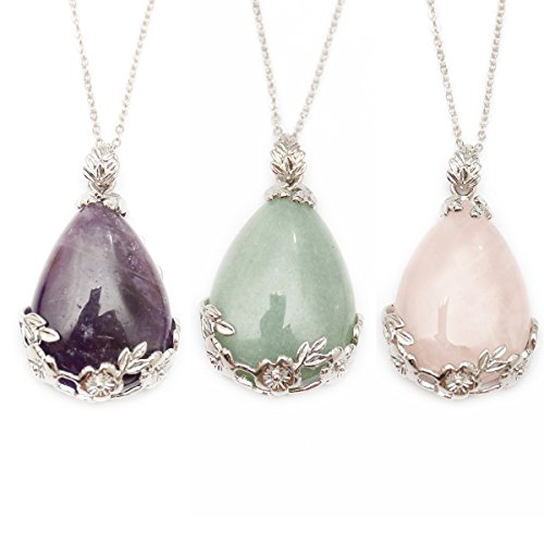 ZHEPIN Rose Quartz Green Aventurine Flower Pendant Purple Jewelry Couple Teardrop Pendant Necklace on 19 inch Silver Alloy Necklace