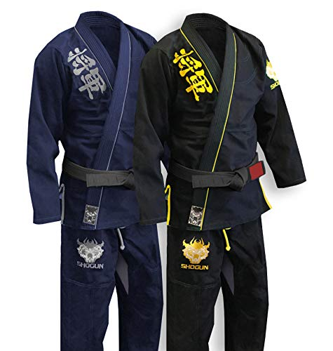 - SHOGUN Fight Jiu Jitsu Gi Ultra Light 'Kanji' 350gsm Pearl Weave Cotton Premium BJJ Black and Gold A1