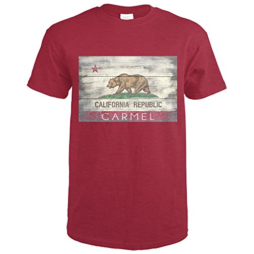 Lantern Carmel (Lantern Press Carmel, California - Rustic California State Flag (Heather Cardinal Red T-Shirt XX-Large))
