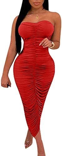 BEAGIMEG Womens Ruched Strapless Bodycon product image