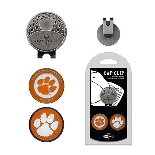 (Team Golf NCAA Clemson Tigers Golf Cap Clip with 2 Removable Double-Sided Enamel Magnetic Ball Markers, Attaches Easily to Hats )