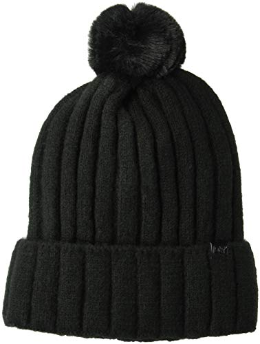 D&Y Women's David & Young's Lined Rib Knit Beanie with pom, Black, one Size