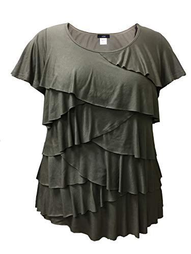 Plus Size Short Sleeve Ruffle Top (2X, Olive) (Flutter Tops Plus Sleeve)