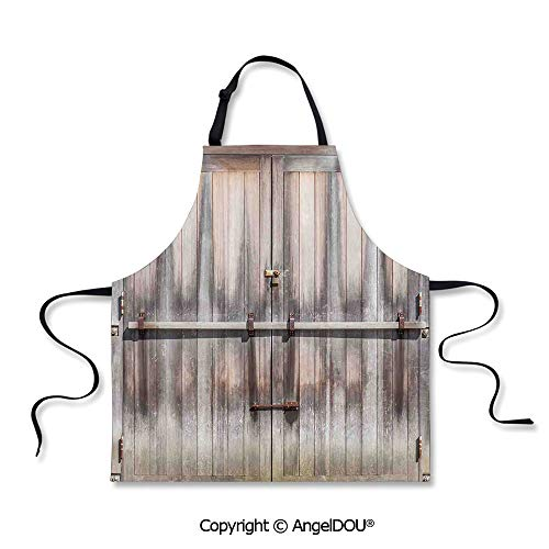 SCOXIXI Printed Unique Cool Kitchen Apron Retro Entrance with Padlock to Abandoned House Wooden Gate Rough Oak Agriculture Image Home Cooking Baking Waist Bib.]()