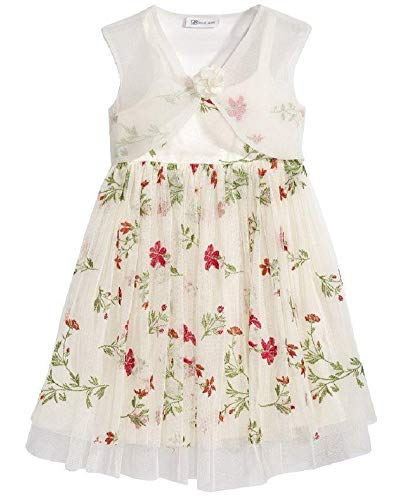 Bonnie Jean Ivory Dress with Embroidered Flowers (2t-6x) -