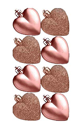 Pack of 8 - 5cm Rose Gold Heart Baubles - Matte and Glitter- Christmas Tree Decorations (Rose Christmas Decorations)