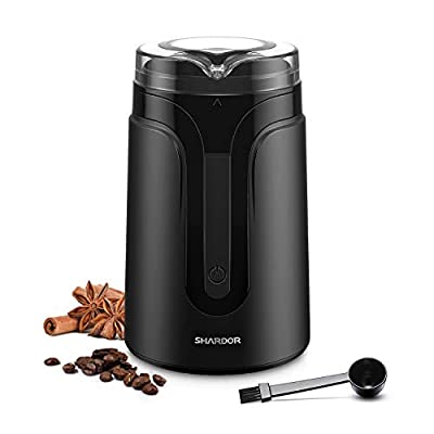 SHARDOR Electric Coffee Grinder Mill for 1-2 Person, Grinder for Spices, Herbs, Nuts, Grains,Black