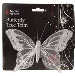 Pack of 3, 12cm Silver Beautiful Glittery Butterfly Christmas Tree Trim/ -
