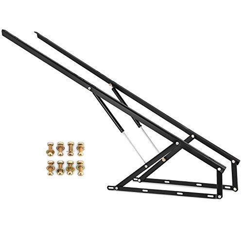 Happybuy Pair of 5FT Pneumatic Storage Bed Lift Mechanism Heavy Duty Gas Spring Bed Storage Lift Kit for Box Bed Sofa Storage Space Saving DIY Project Lifter Lift Up Hardware Black (B150)