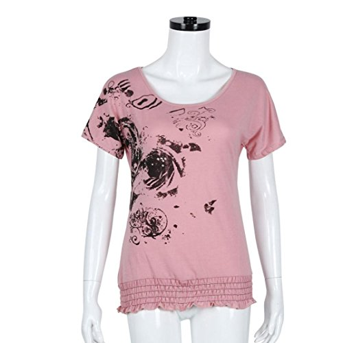 Culater verano tapas florales suelta camisa de manga corta Rosa