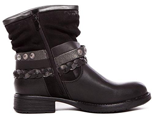 CAPRIUM Women's Biker Boots Black zSmGBQgv