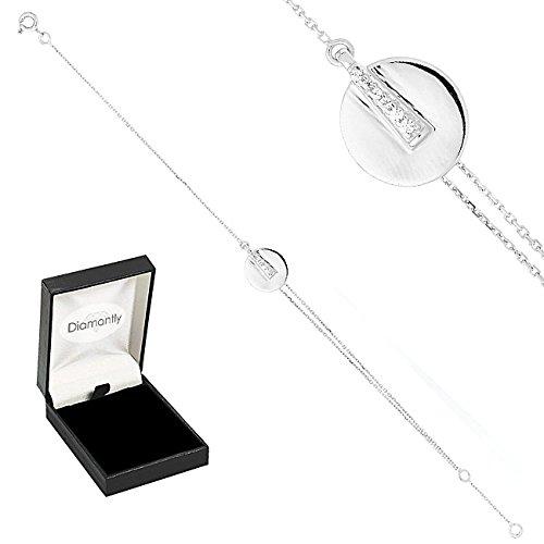 Diamantly - Bracelet or Gris 2 Ovales Mélés Oxyde De Zircon Noir et Blanc - or Gris 375/1000 (9 Carats) - Femme - Fille
