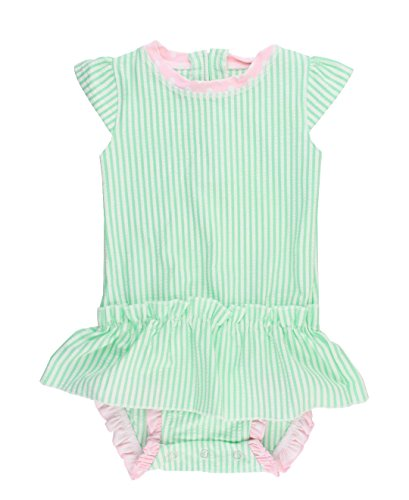 RuffleButts Infant / Toddler Girls Mint Seersucker Bow-Back Peplum One-Piece - Mint Seersucker - 6-12m
