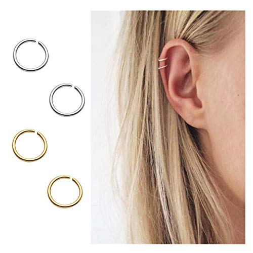 - Pamido Hoop Cartilage Earring Fake Earrings Nose Rings Septum Nose Ring Stainless Steel for Women Men Girls Silver Gold