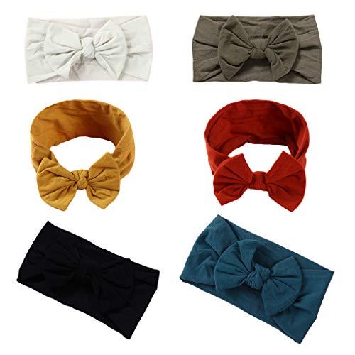 Xinshi Baby Girls Elastic Soft Hair Band Infant Bow Headbands Turban (NL5 (6PCS))