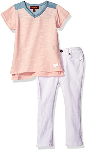 7 For All Mankind Toddler Girls' 2 Piece Tunic Top and Skinny Jean Set, Silver Pink, (7 For All Mankind Tops)