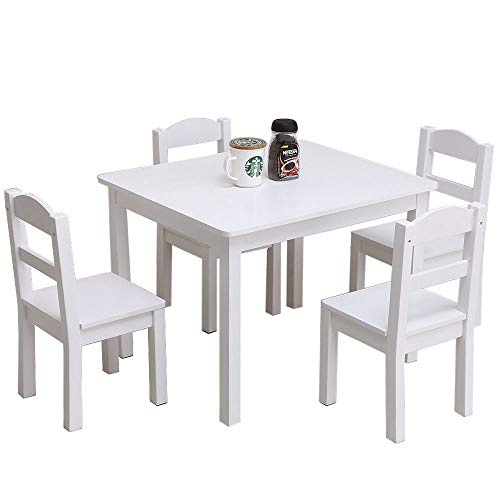 (Festnight 5 Pieces Kids Table and Chairs Set Wood Activity White Table with 4 Chairs Set 3 Years and Up Age Girls Boys Play Picnic Educational Dining Wooden Table Playroom Furniture)