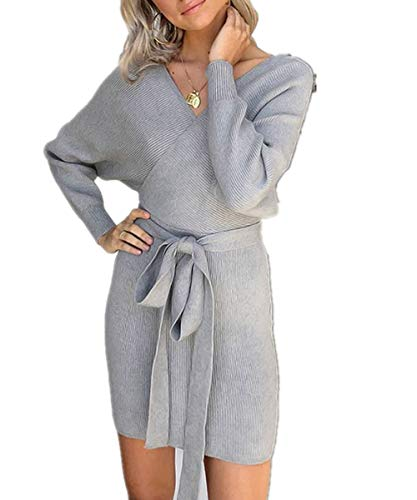 Belt Batwing (Dreamskull Women's Sexy V Neck Long Batwing Sleeves Bodycon Mock Wrap Knit Sweater Dress Belt)