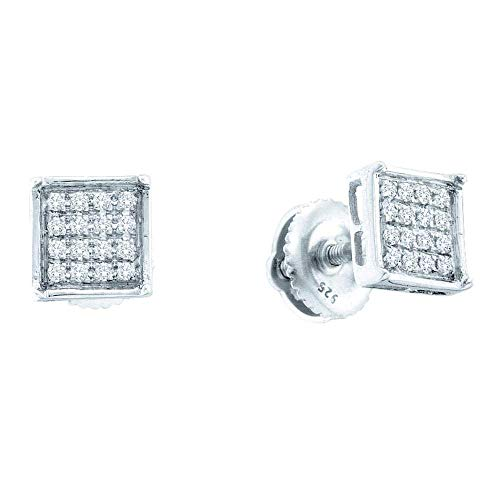 The Diamond Deal Sterling Silver Womens Round Pave-set Diamond Square Cluster Earrings 1/3 Cttw