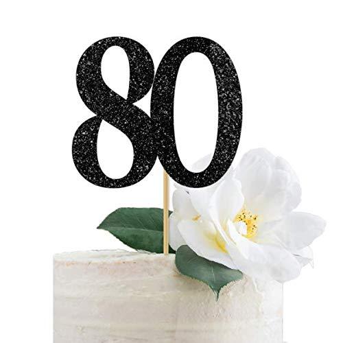 80th Anniversary Eighty Eightieth Birthday Silver Glitter 80 Cake Topper