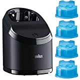 Braun Series 9 Foil Replacement - Braun Clean and Charge Base Unit for Braun Series 9 Shavers with Braun Clean & Renew Refill Cartridges CCR, 4 Count