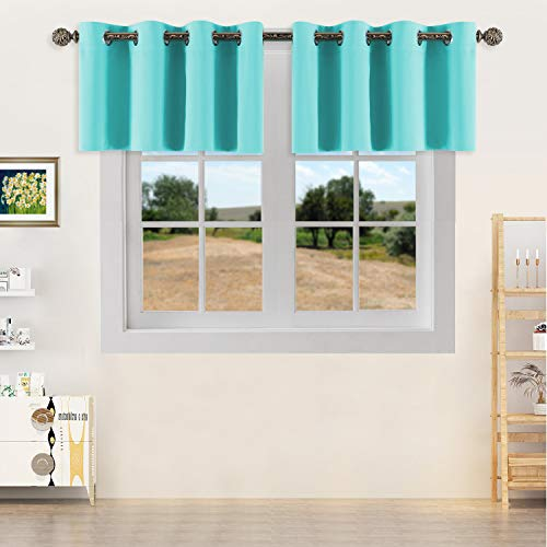 YGO Turquoise Window Valance Curtains Easy Care Home Decor Curtains with Grommet Top for Basement Kitchen 52W by 18L 2 Panels (Windows Valances Turquoise For)