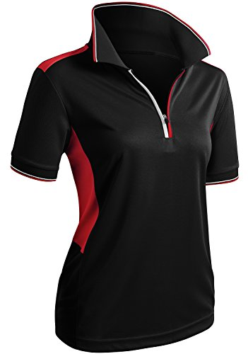 (CLOVERY Quick Drying Active Wear Short Sleeve Zipup POLO Shirt BLACK US M/Tag M)