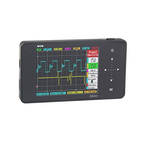 UY CHAN Original Two Channel Mini DSO202 NEW Upgrade Version DS202 Nano ARM Pocket Size Portable Handheld LCD Touch Screen Digital Storage Oscilloscope, 8MB Memory Storage 2MHz 10Mps Black Metal Case