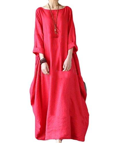 Partito Tela Rosso Da Coolred Di Allentata Lungo Di Colore Cotone Formato Più donne Misura Il Di Vestito Solido qBAHxB8w