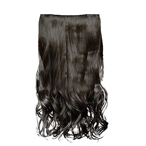 Longtis Clip en Extensión de cabello Peluca larga y rizada Cabello para mujer Chica Pelo resistente al calor 16 pulgadas