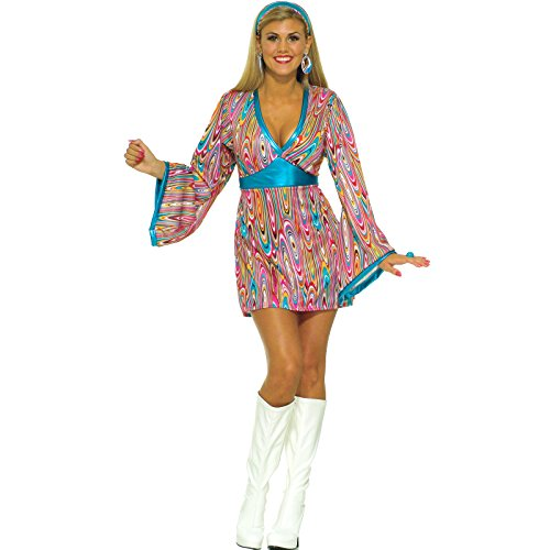 Forum Novelties Women's 60's Generation Mod Wild Swirl Costume Dress, Rainbow, ()