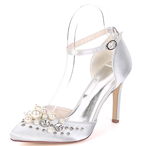 Flower Talon Mariage Strap Chaussure Satin Bal UK2 Haute Ager Pompes Soirée Femmes Strass 22F Cheville De De Silver EU35 0608 Robe rw0rTpqX