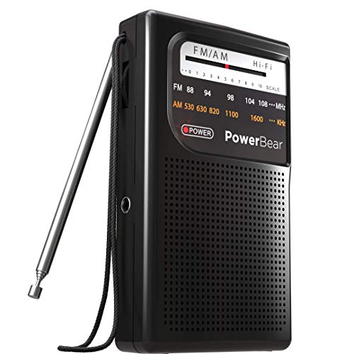 PowerBear AM FM Radio (Portable Radio) Handheld Battery Operated Radio | Long Range and Long Lasting Radio - Black