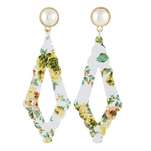 (DAGE Exotic Style Charming Simple Dangle Earrings Square Pearl Bead Floarl Print Acetate Plate Earrings)