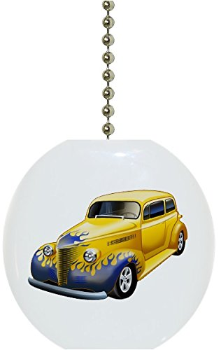 Yellow Hot Rod Car with Blue Flames Solid Ceramic Fan Pull Ceramic Ceiling Fan Pull