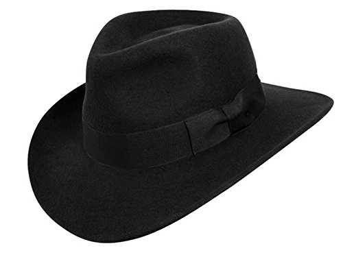 Men's 100% Crush-able Wool Felt Outback Cowboy Indiana Jones Fedora Hats (L/XL, Black) (Felt Fedora Hats)