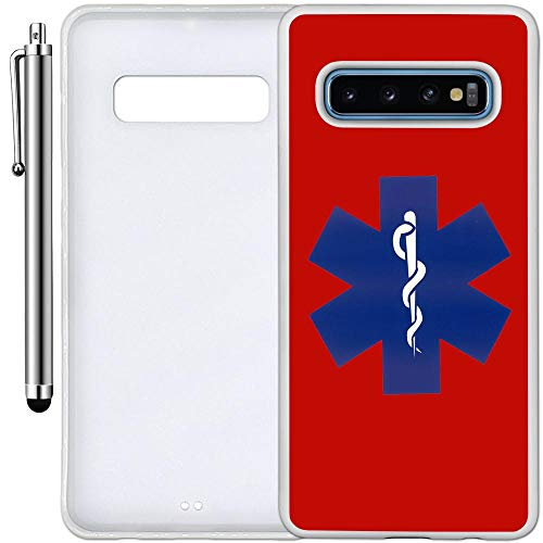 Custom Case Compatible with Galaxy S10 Plus (6.4 inch) (EMT on Red) Edge-to-Edge Rubber White Cover Ultra Slim | Lightweight | Includes Stylus Pen by Innosub