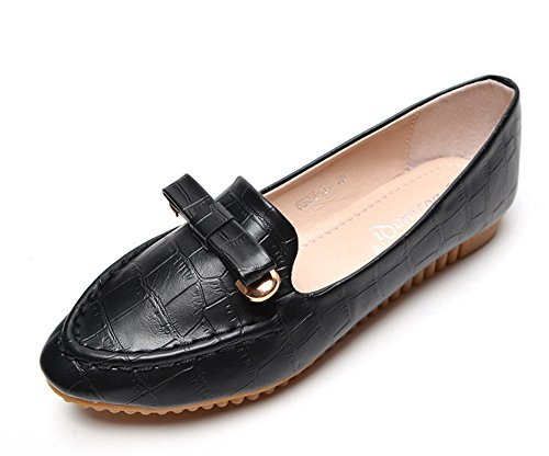 Aisun Women's Comfy Casual Slip On Pointy Toe Flat Loafers Shoes With Bows Black