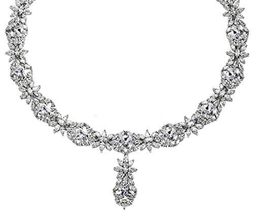Epinki Silver Plated Round Cut Cubic Zirconia Diamond Pendant Flower Crystal White Necklace For - Kardashian Kim In Costume