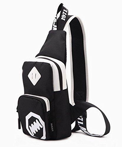 Panegy Fashion Sports Unisex Brusttasche Sporttasche Bauchtasche Schultertasche Umhängetasche Crossbody Tasche Schultasche - Schwarz