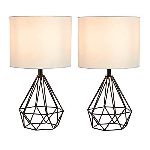 SOTTAE Black Hollowed Out Base Modern Lamp Bedroom Livingroom Beside Geometric Table Lamp, 16 Desk Lamp With White Fabric Shade(Set of 2)