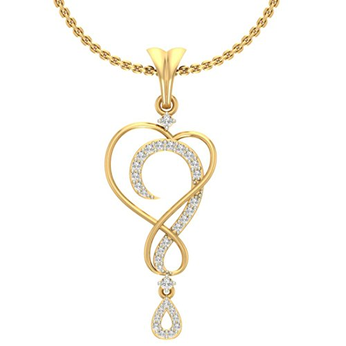 Or jaune 14 K 0,2 CT TW Round-cut-diamond (IJ | SI) diamant Pendentif