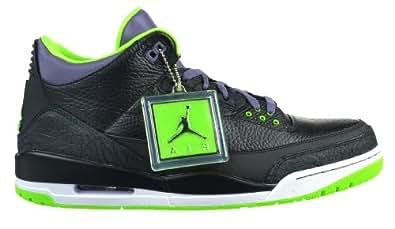 """Air Jordan 3 Retro """"Joker"""" Men's Shoes Black/Electric Green/Canyon Purple/White Black/Electric Green/Canyon Purple/White 136064-018-9.5"""