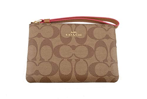Coach Crossgrain Leather Corner Zip Wristlet Wallet (Khaki Neon Pink) by Coach (Image #4)