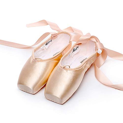 WEISIPU Zapatillas de ballet profesionales de satén para ballet, zapatos de punta, principiantes, Rosado, US 6