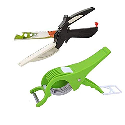 DKK FLODET™ 4-in-1 18/10 Steel Smart Clever Cutter Kitchen Knife Food Chopper and in Built Mini Chopping Board with Locking Hinge and 5 Blade Vegetable Slicer(Combo) Price & Reviews