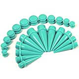 BodyJ4You 24PC Big Gauges Kit Ear Stretching 00G-20mm Tapers Plugs Turquoise Acrylic Piercing Set