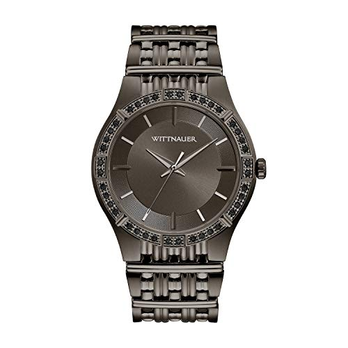 (Wittnauer Men's WN3080XG Quartz Enhanced Black Diamond Accent Gunmetal 46mm Watch (Renewed))